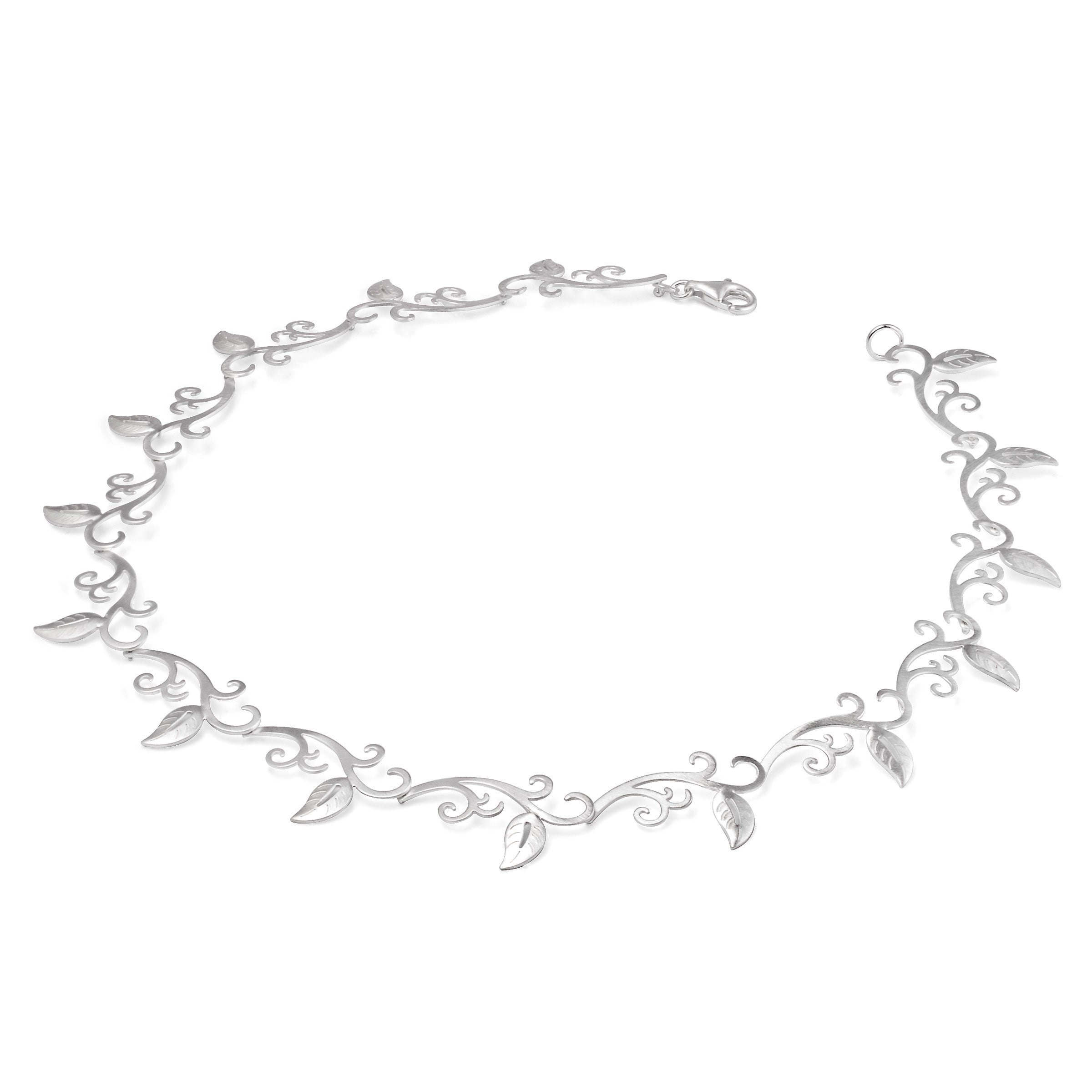 Lightweight Floral Open Design Necklace, Sterling Silver