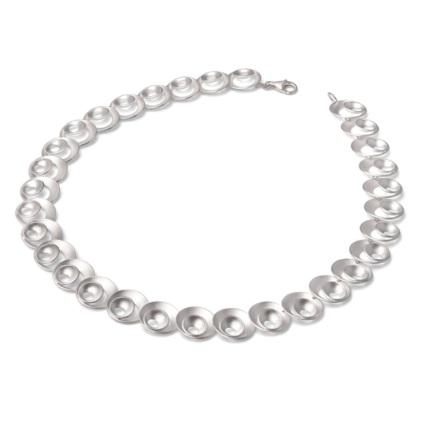 Nested Open Disc Necklace, Sterling Silver