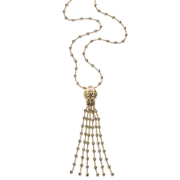 Two Tone Tassel Necklace, Sterling with 18K Yellow Gold Plating