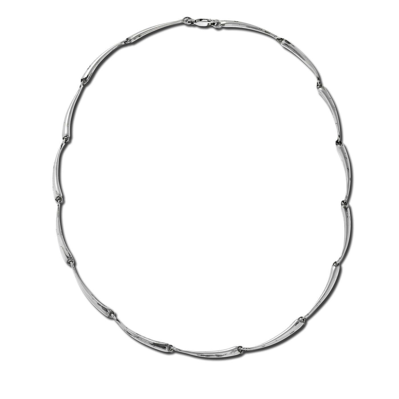 Curved Link Necklace, Sterling Silver