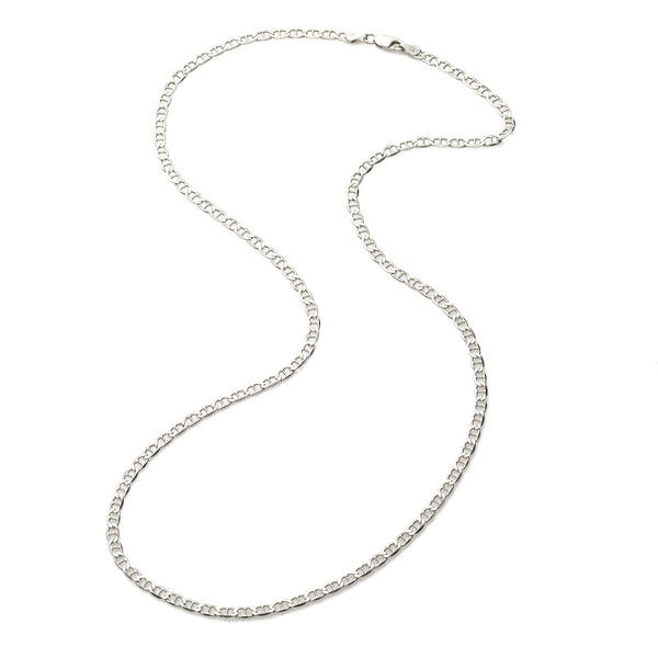 Flat Mariner Link Chain, 20 Inches, Sterling Silver
