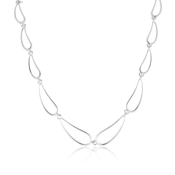 Curved Open Link Necklace, Sterling Silver