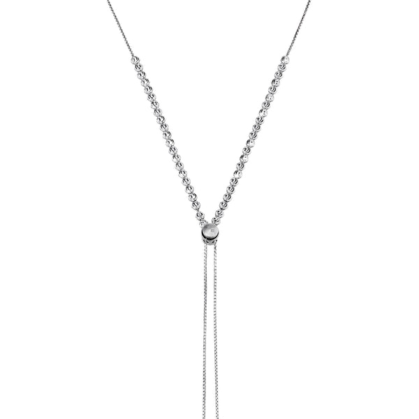 Adjustable Lariat Style Bead Necklace, Sterling Silver
