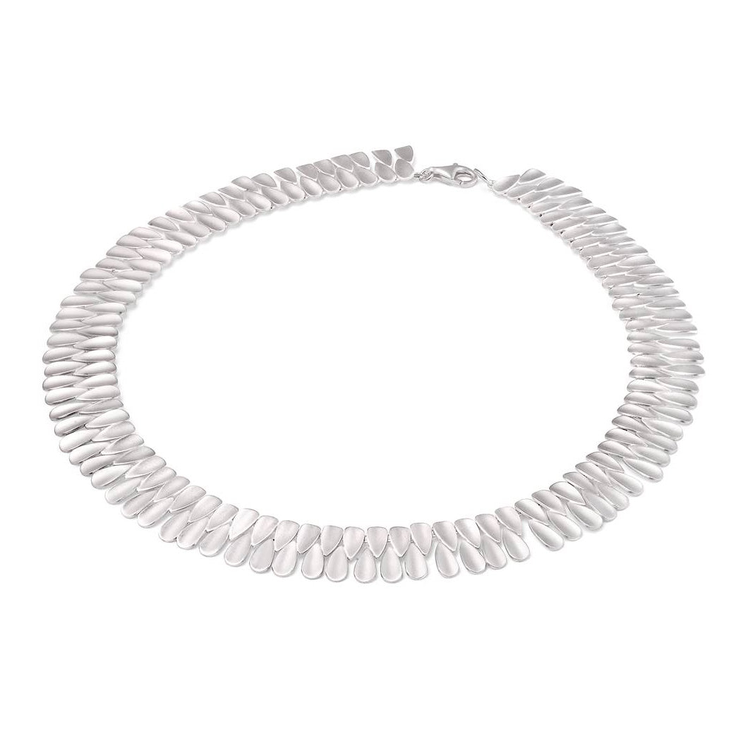 Matte Finish Double Row Necklace, Sterling Silver
