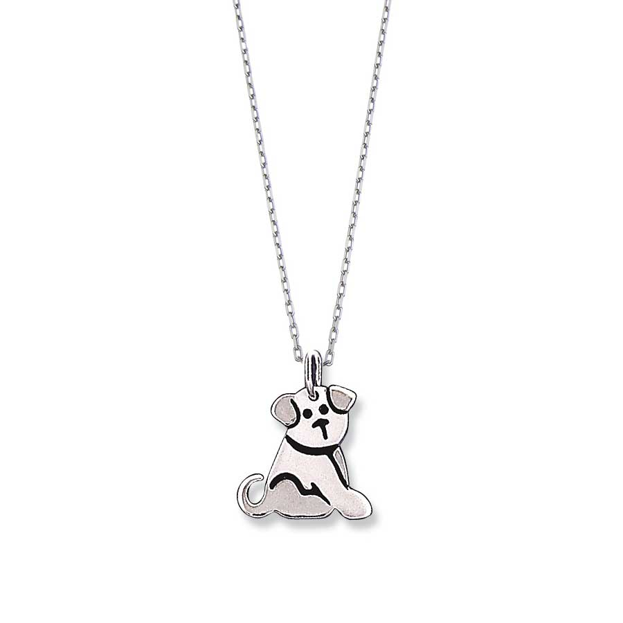 Dog Design Charm Pendant, Sterling Silver
