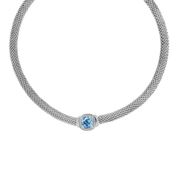 Blue Topaz and Diamond Mesh Necklace, Sterling Silver