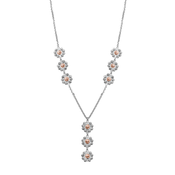 Two Tone Daisy Lariat Style Necklace, Sterling with 18K Rose Gold Plating