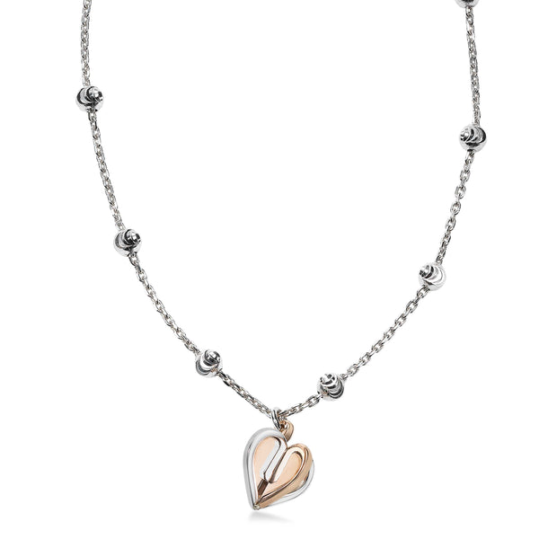 Two Tone Open Heart Dangle Necklace, Sterling Silver and 18K Rose Gold