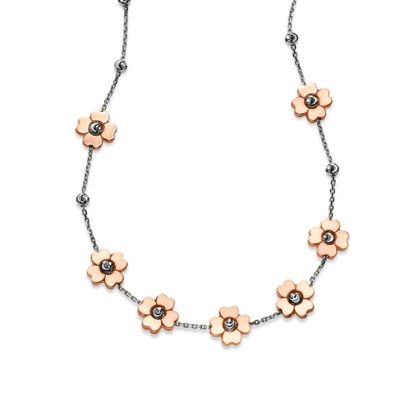 Rose Color 7 Flower Station Necklace, Sterling with 18K Rose Gold Plating