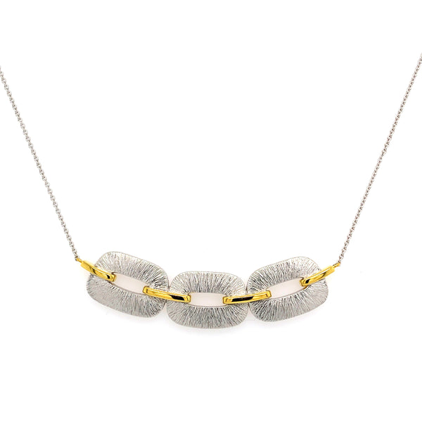 Two Tone Link Design Necklace, Sterling with 14K Yellow Gold Plating