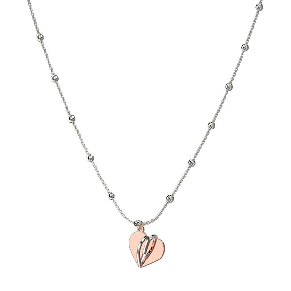 Three Dimensional Heart Charm Necklace, Sterling with 18K Rose Gold Plating