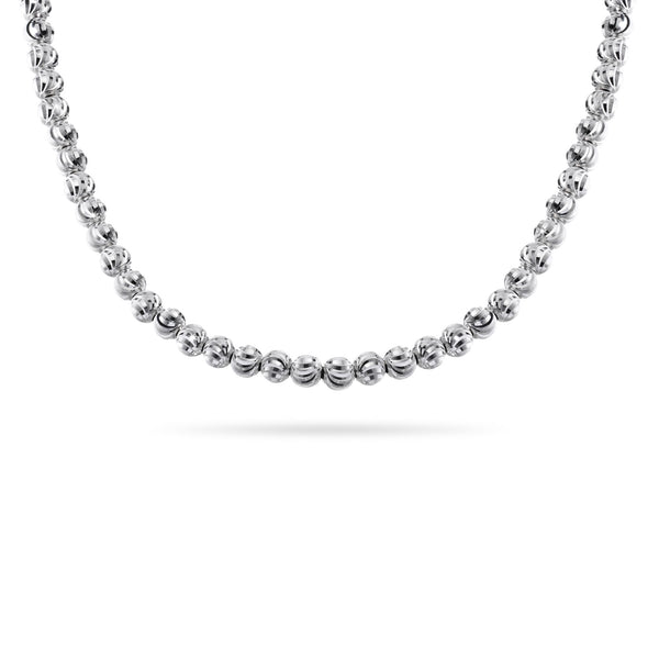 Diamond Cut Bead Necklace, 4MM, Sterling Silver with Platinum Plating