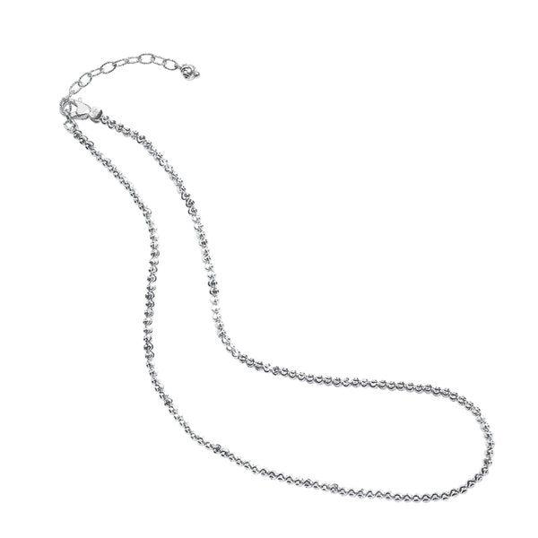 Diamond Cut Bead Necklace, Sterling Silver with Platinum Plating