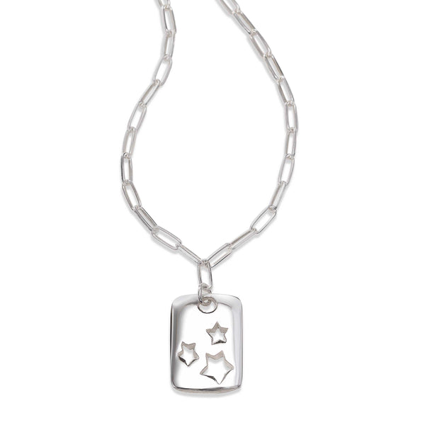 Celestial Dog Tag Pendant, Sterling Silver