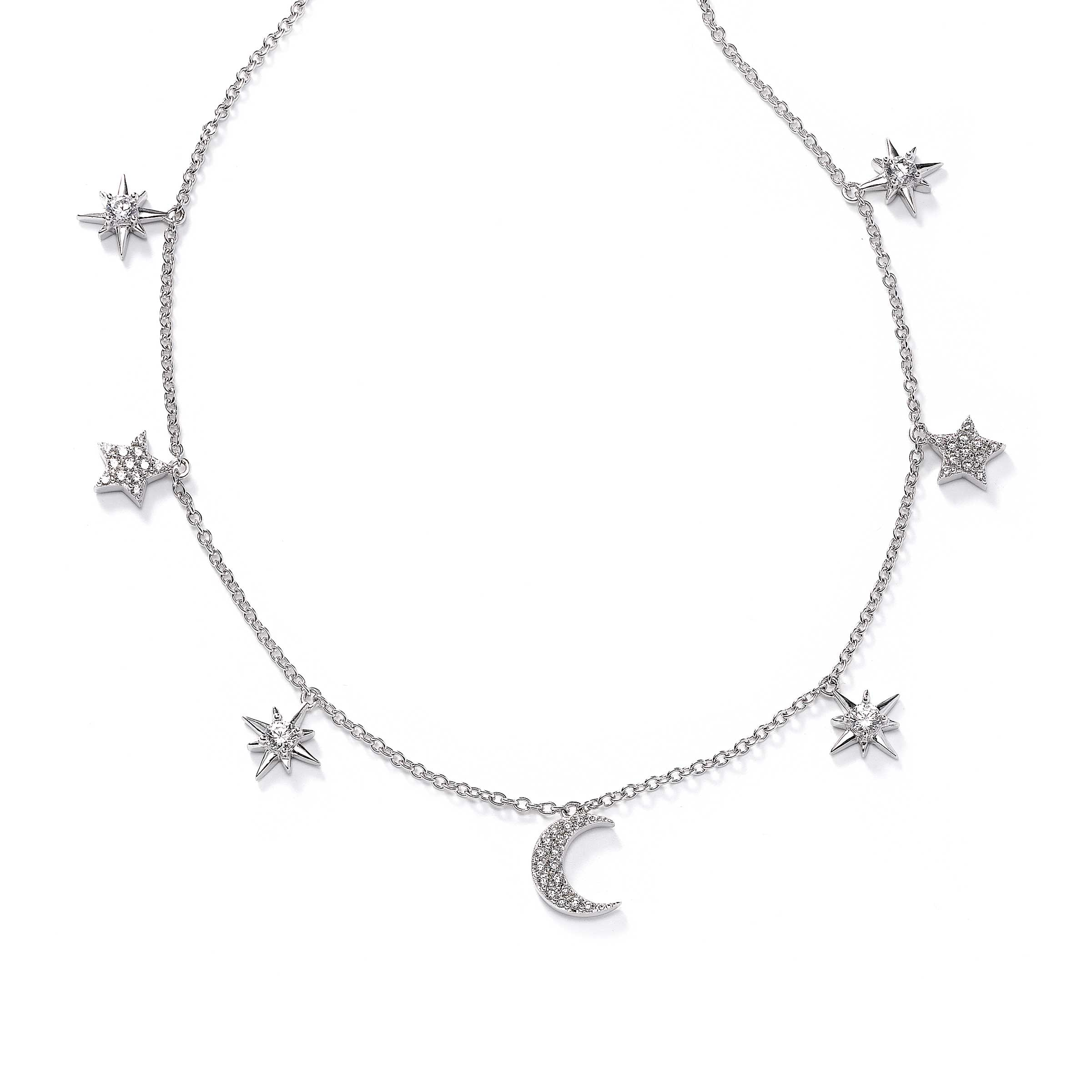 CZ Star and Moon Charm Necklace, 16 Inches, Sterling Silver