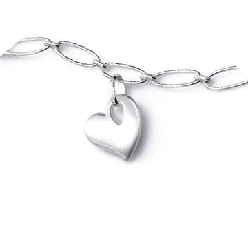 Satin Finish Heart Charm Necklace, Sterling Silver
