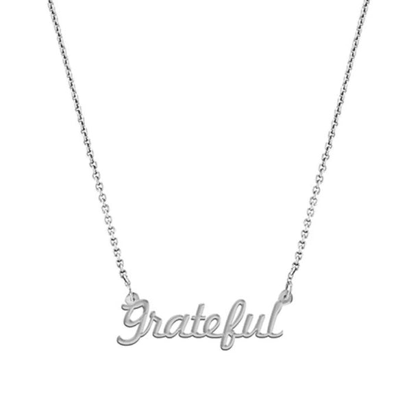 """Grateful"" Script Necklace, White Gold Plated"