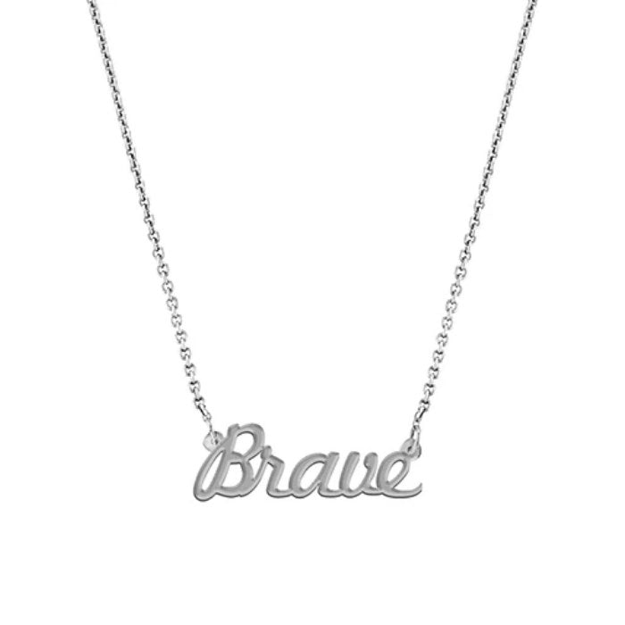 """Brave"" Script Necklace, White Gold Plated"