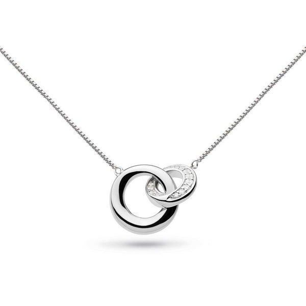 CZ Bevel Cirque Link Necklace, Sterling Silver