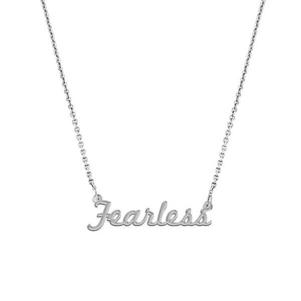 """Fearless"" Script Necklace, White Gold Plated"