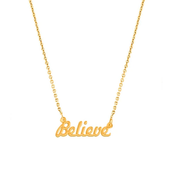 """Believe"" Script Necklace, Yellow Gold Plated"