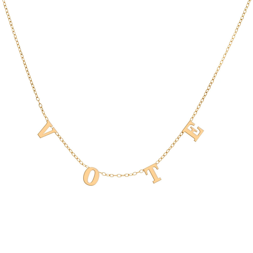 """Vote"" Necklace, Yellow Gold Plated"