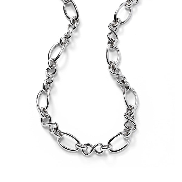 Mixed Open Link Style Necklace, Sterling Silver
