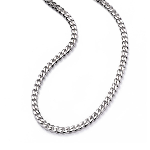Flat Curb Chain Necklace, 23.50 Inches, Sterling Silver