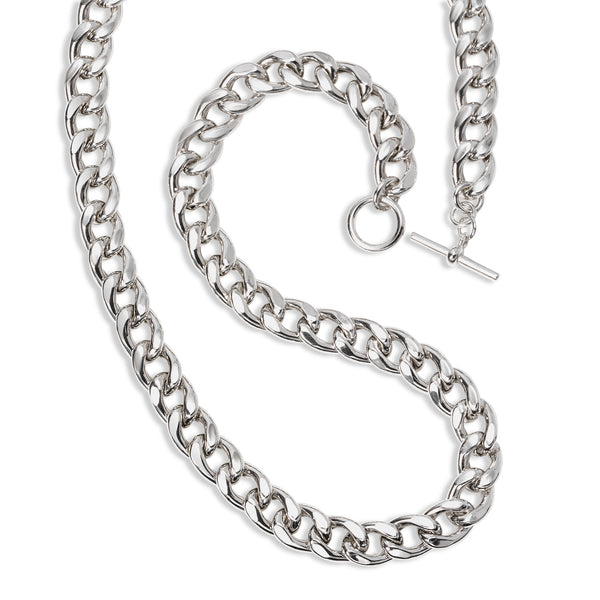Bold Flat Curb Chain Necklace, 23.50 Inches, Sterling Silver