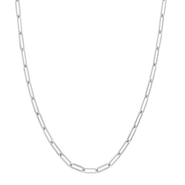 Solid Paper Clip Chain Necklace, Sterling Silver