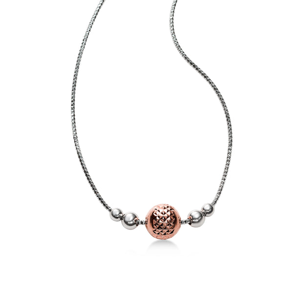 Diamond Cut Design Ball Necklace, Sterling Silver with 18 Rose Gold Plating