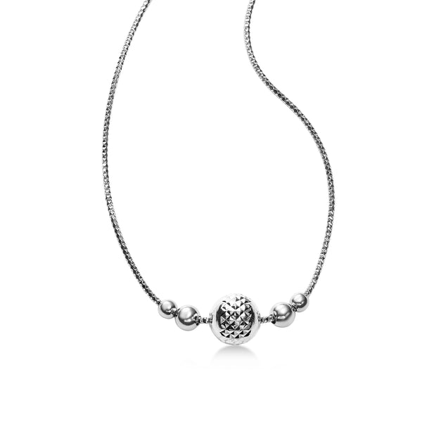 Diamond Cut Design Ball Necklace, Sterling Silver with Platinum Plating