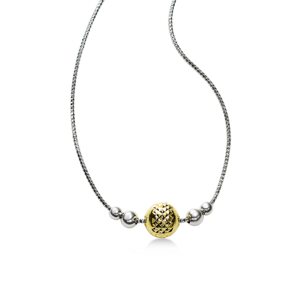 Diamond Cut Design Ball Necklace, Sterling Silver with 18 Yellow Gold Plating
