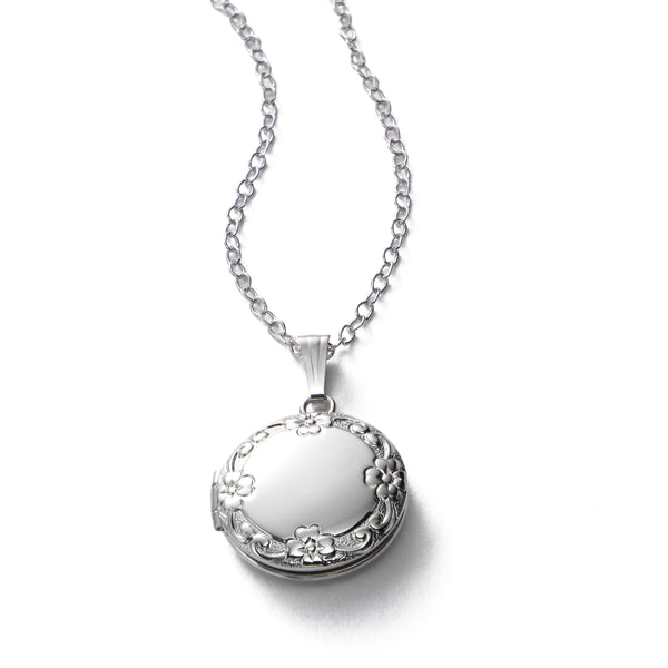 Petite Embossed Locket, Half Inch Across, Sterling Silver