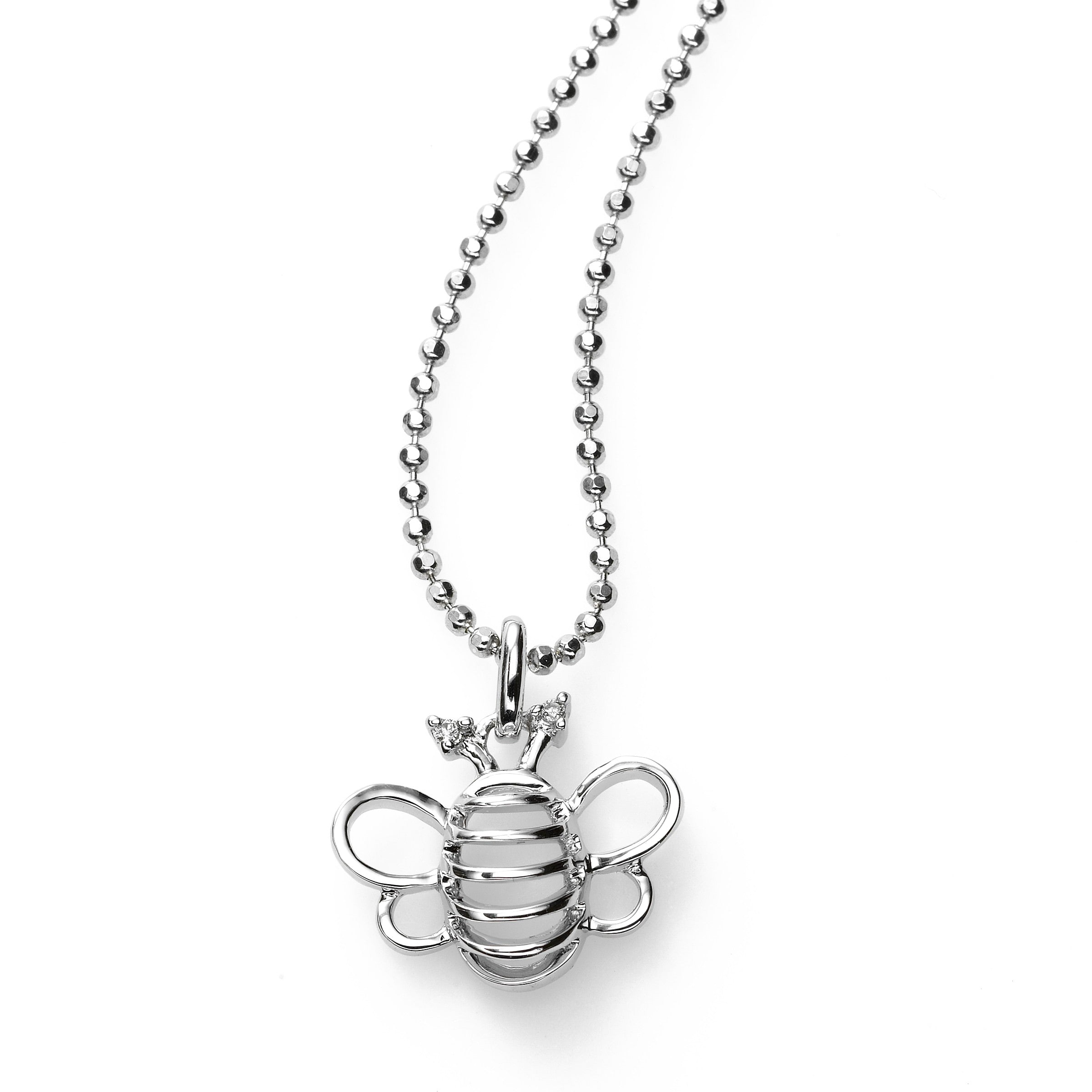 Bee Pendant, Diamond Accent, Mini Size, Sterling Silver, 18 Inch Chain