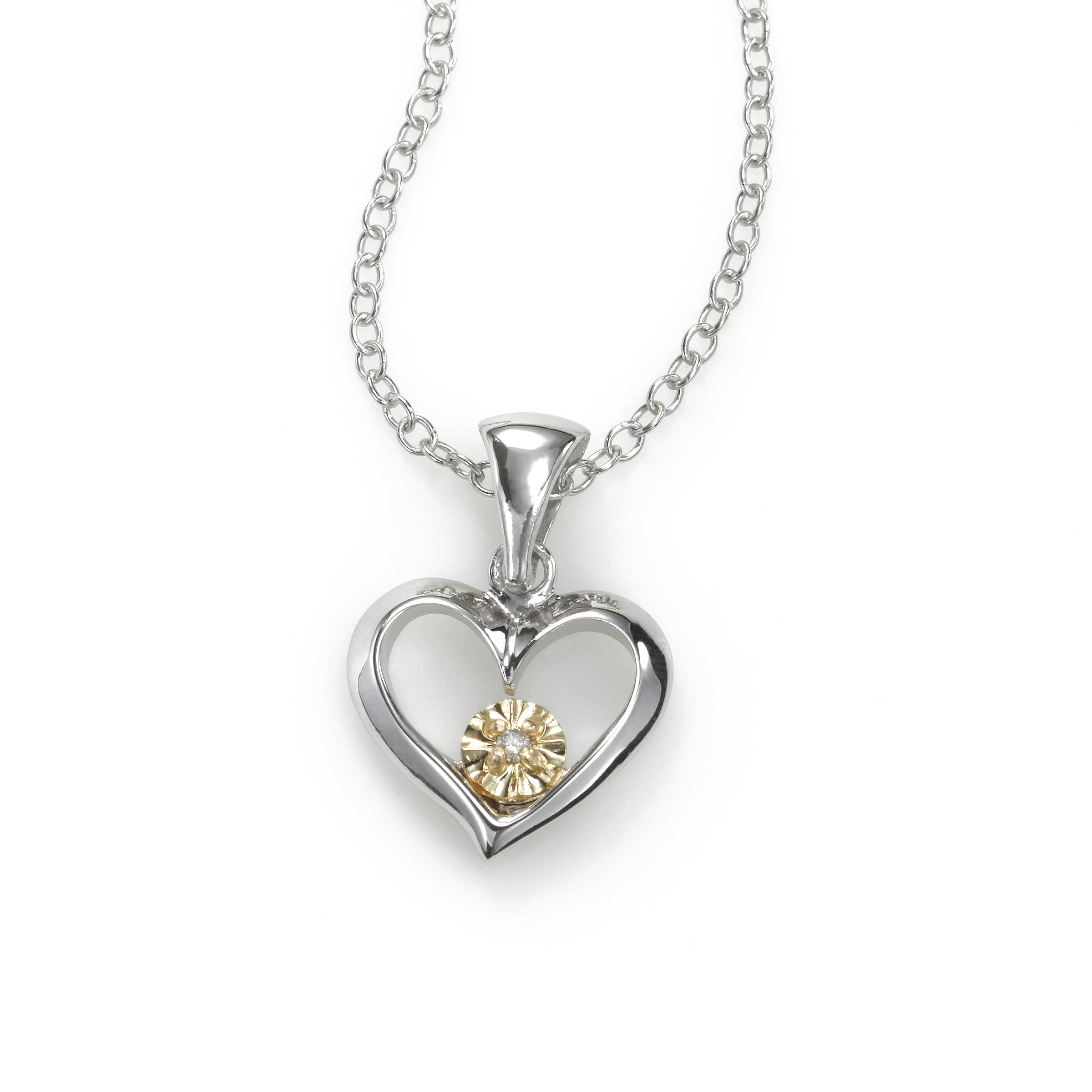 Tween Open Diamond Heart Pendant, Sterling Silver with 14K Yellow Gold