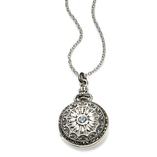 Marcasite and Top Sky Blue Topaz Locket, Sterling Silver