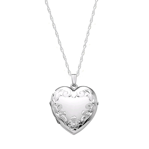 Hand Engraved Heart Locket, 20 Inches, Sterling Silver