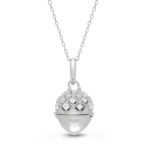 Acorn Shape Locket with White Topaz, Sterling Silver