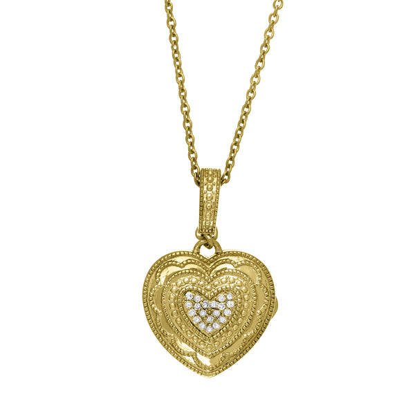 Classic Heart Locket, Sterling Silver with Yellow Gold Plating