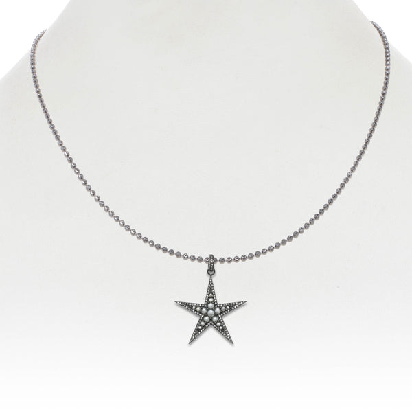 Freshwater Cultured Pearl Star Pendant, Blackened, Sterling Silver