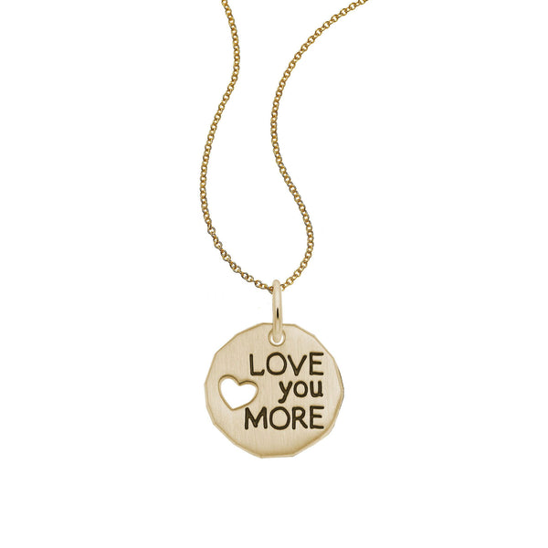 Love You More Charm Tag, 14K Yellow Gold