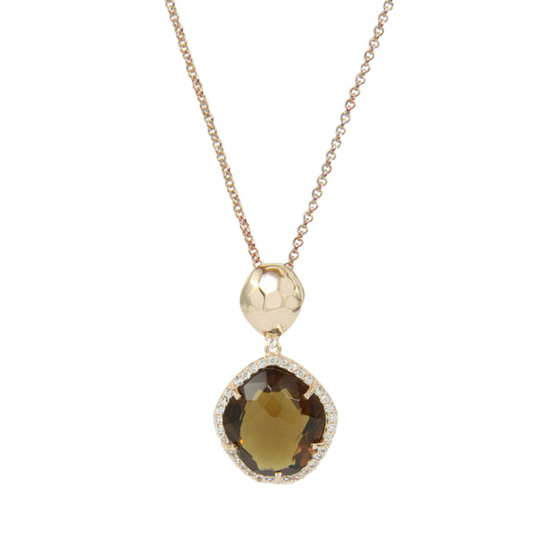 Whiskey Quartz and White Topaz Pendant, Sterling Silver and Vermeil