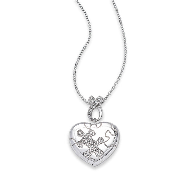 Heart Shaped Autism Puzzle Piece Locket, Sterling Silver