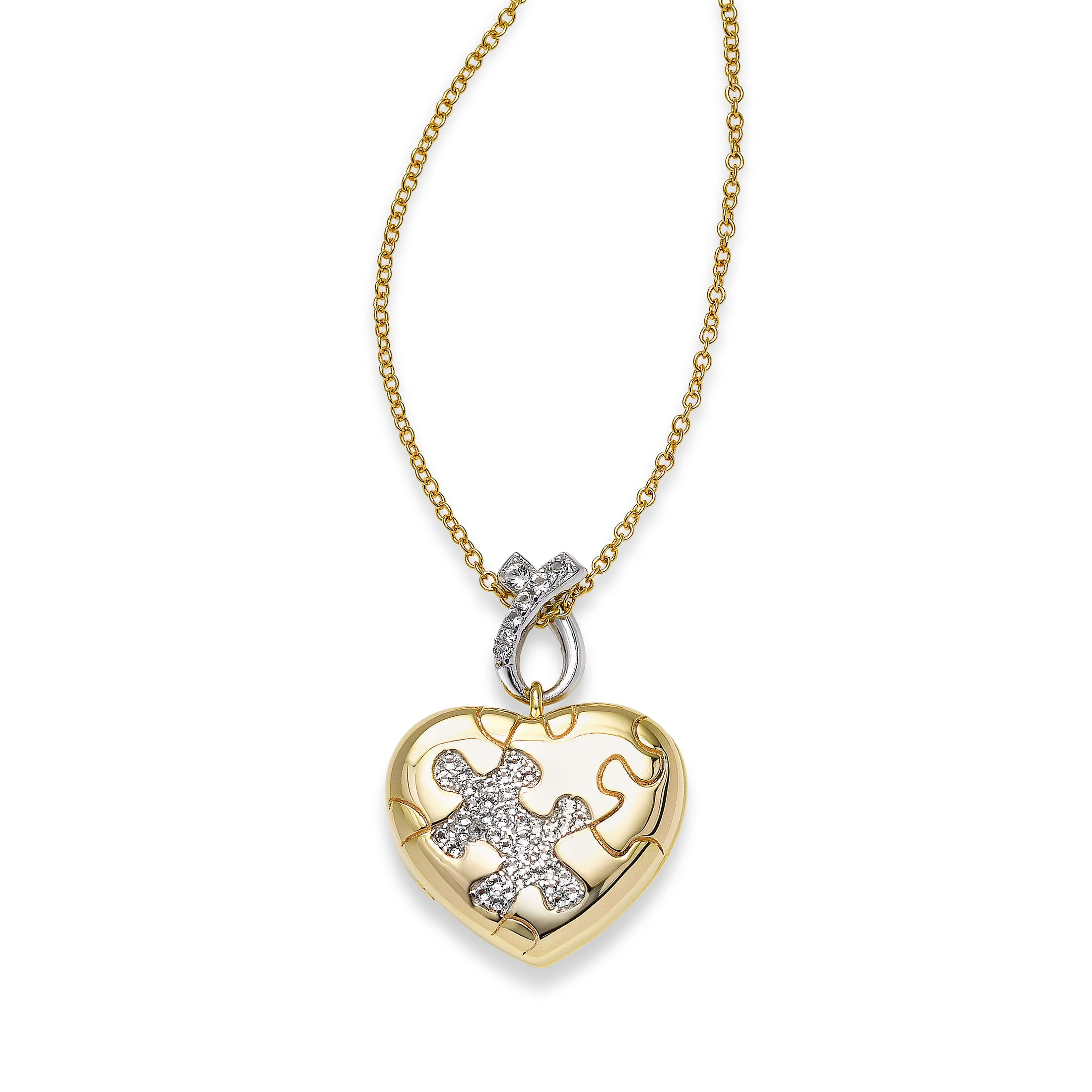 Heart Shaped Autism Puzzle Piece Locket, Sterling Silver and Vermeil