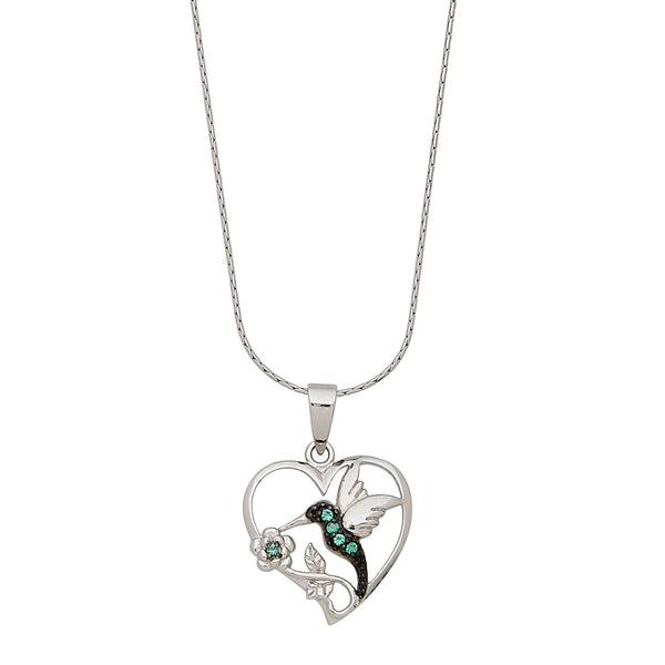Heart Shaped Hummingbird Pendant, Sterling Silver