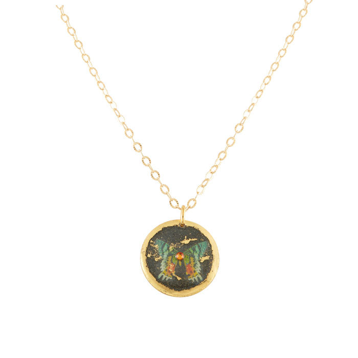'Green Butterfly' Disc Enamel Pendant, Gold Leaf, by Evocateur
