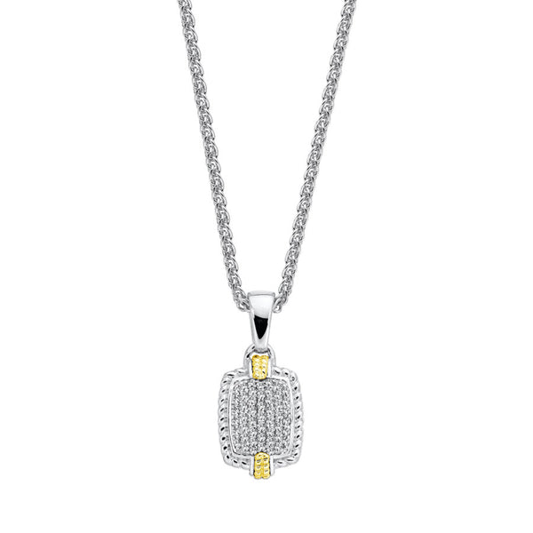 Pavé Set Diamond Pendant, Sterling and 18K Gold Accents