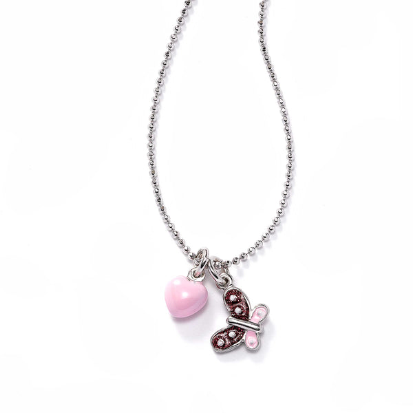Pink Heart and Butterfly Charm Pendant, Sterling Silver