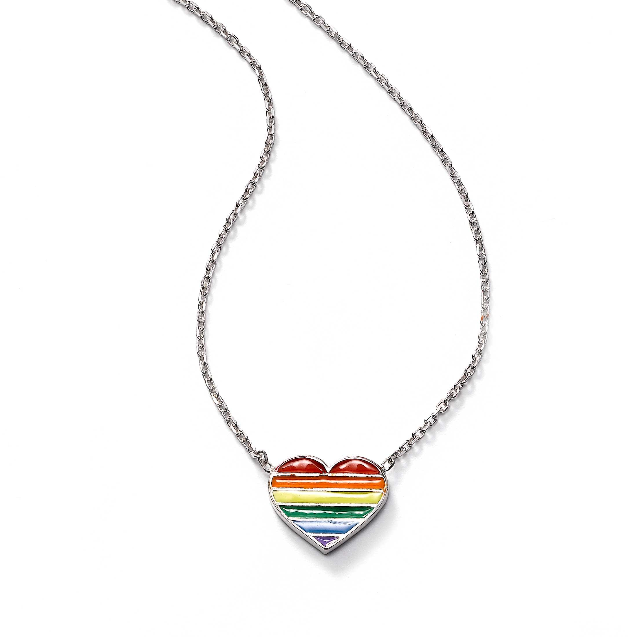 Rainbow Color Heart Necklace, Sterling Silver